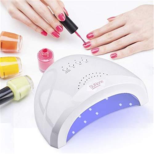 UV Lampe für Nägel, 48W LED UV Lampe für Gelnägel Nagellack Trocknergerät Ein-Knopf-Timer-Einstellung Aus ABS-Material Leicht und leicht zu tragen Automatischer Erfassungsmodus,White