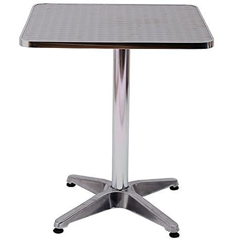 Homcom Height Adjustable Bistro Table Pub Bar Square Table Stainless Steel Top Aluminium Edge 60 x
