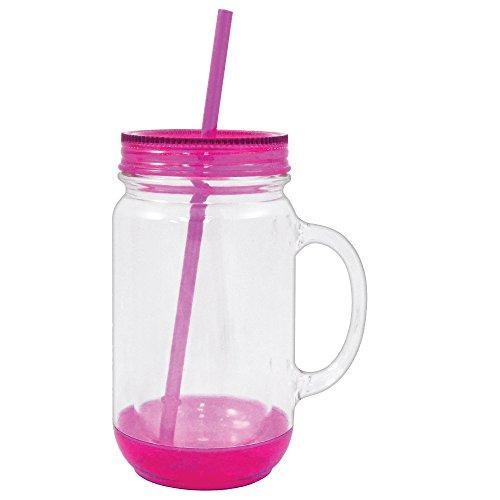 Mason Glas mit Deckel Kunststoff Becher Trinkbecher Tasse mit Stroh 18oz rose (Mason Gläser Mit Großen Griffen)