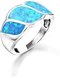 Dormith® femme mode argent sterling 925 bleu bagues aile de mode incrustation opale synthétique pour femmes bijoux rhodium(taille est 56,5)