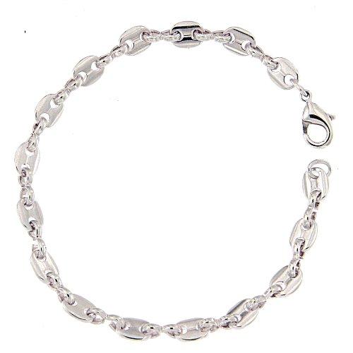 Bracelet chaine grain de café plaqué argent, 5,5mm, longueur sélectionnable, femme homme gourmette bijoux cadeaux de italien usine tendenze
