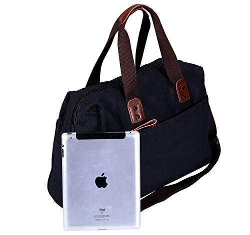 VIDENG POLO Herren Messenger Bag Jahrgang Canvas Duffel Tasche Schultertasche Sporttasche Reise Handtasche,4 Größe Schwarz-pmc2