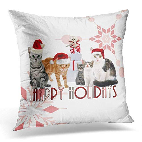 RGFJJE Kissenbezüge Monogrammed Cats Christmas Red Pink Snowflake Felines Decorative Pillow Case Home Decor Square 18 x 18 Inch 45cm