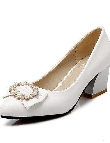 WSS 2016 Chaussures Femme-Bureau & Travail / Décontracté-Noir / Bleu / Rose / Blanc-Gros Talon-Talons / Confort / Bout Pointu / Bout Fermé-Talons- white-us9 / eu40 / uk7 / cn41