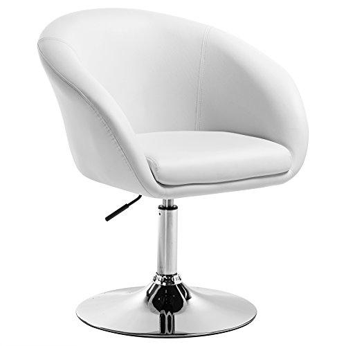 WOLTU BH24ws-1 Barhocker Barsessel 1er Set, stufenlose Höhenverstellung, verchromter Stahl, Kunstleder, gut gepolsterte Sitzfläche mit Armlehne und Rücklehne, Weiß -