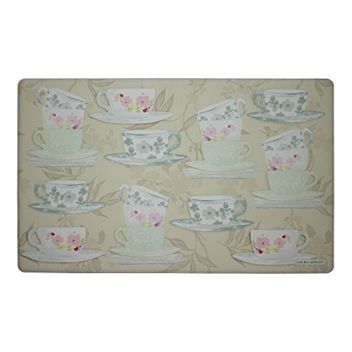 "Price comparison product image Laura Ashley Anti-Fatigue Comfort 20"" x 32"" Kitchen Mat, Tea Party, Taupe/Pink/Green/Blue"