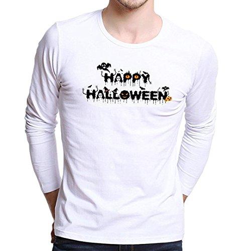 (Halloween T-Shirt MEIbax Herren Langarmshirt Männer Plus Größen Druck Longsleeve T-Shirt Kürpiskopf Pumkin Head(Mehrfarbig,L))