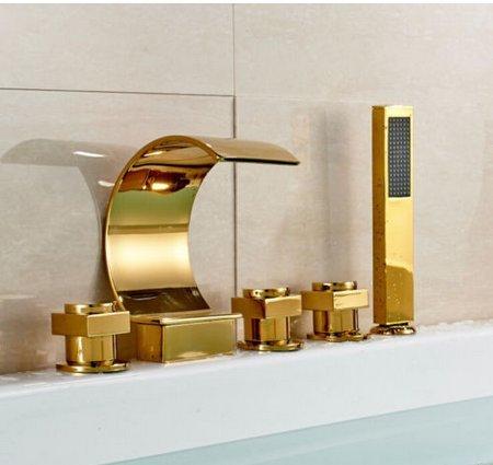 Gowe Luxe Doré Cascade Baignoire robinet mélangeur pour lavabo avec pommeau de douche Mélangeur 5 pièces de salle de bain baignoire robinet Ensemble