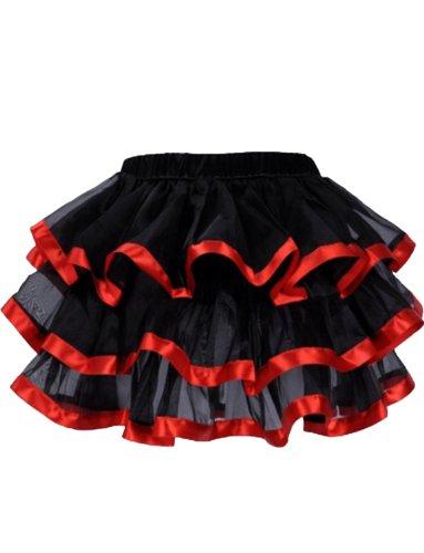 Yummy Bee - Erotische Schwarzen Burleske Rock Tutu Kostüm Damen Größe 34 - 52 (Rot, (Kostüme Rassig)