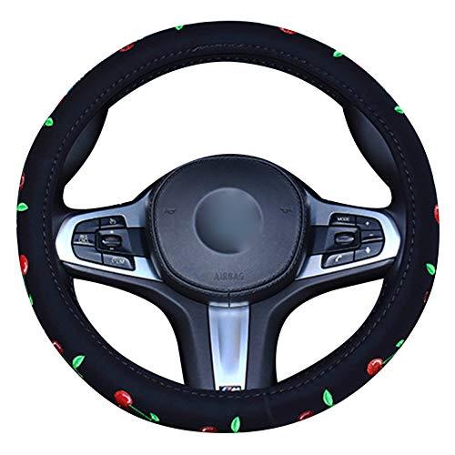 XuanMax Stickerei Lenkradbezug Auto 38cm Lenkradhülle Lenkrad Abdeckung für Frauen Lenkradschoner Universal 15 Inch Lenkradabdeckung Lenkradschutz - Kirsche -