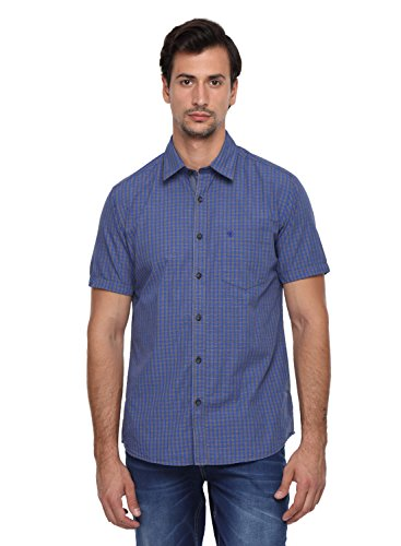 Classic Polo 100% Cotton Men's Small Checks Half Sleeve Slim Fit Casual Shirt