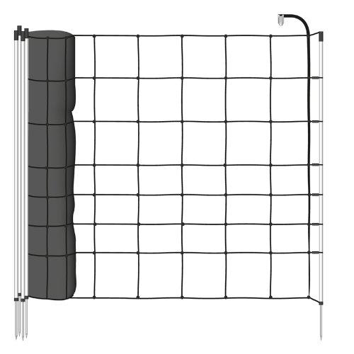 filet-mouton-50m-h-90cm-noir-vossfarming-14-piquets-simple-pointe-cloture-electrique