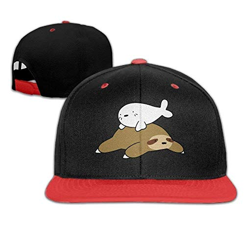 Baby Harp Seal and Sloth Men Women Hip Hop Baseball Caps - Seal Baby Harp