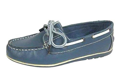 Chaussons mocassins en cuir Style Chaussures bateau pour femme Bleu - Jean