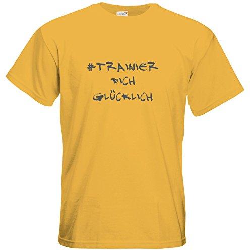 getshirts - Station B3.1 - T-Shirt - #trainierdichglücklich grau Gold
