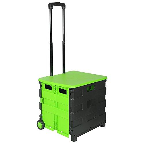 WOLTU EW4802gn Einkaufswagen 64L Einkaufstrolley Einkaufsroller Shopping Trolley klappbar bis 35kg mit Deckel Schwarz-Grün
