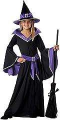 Idea Regalo - Tante Tina Costume da Strega per Bambina - Vestito da Strega da Bimba in 3 Pezzi: Abito, Cintura e Cappello - Nero / Blu - Taglia XL ( 152 ) - Indicato per Bambini dai 10 ai 12 Anni