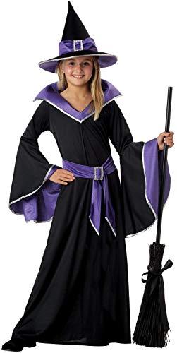 Tante Tina Hexenkostüm Mädchen - 3-teiliges Mädchen Kostüm Hexe mit Kleid , Gürtel und Hut - Schwarz / Blau - Größe L ( 140 ) - geeignet für Kinder von (Kostüm Mit Einem Blauen Kleid)
