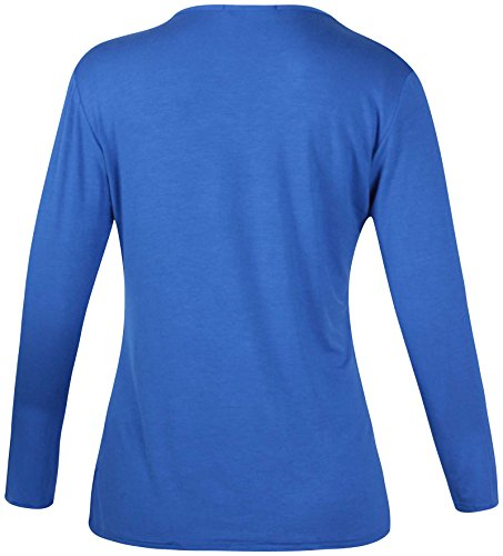 Purple Hanger - Damen T-Shirt Einfarbig Langer Arm Freizeit Rundhalsausschnitt Top Übergröße Königsblau