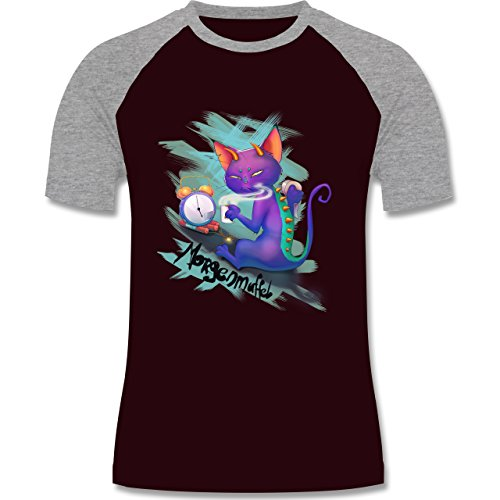 Statement Shirts - Morgenmuffel - zweifarbiges Baseballshirt für Männer Burgundrot/Grau meliert