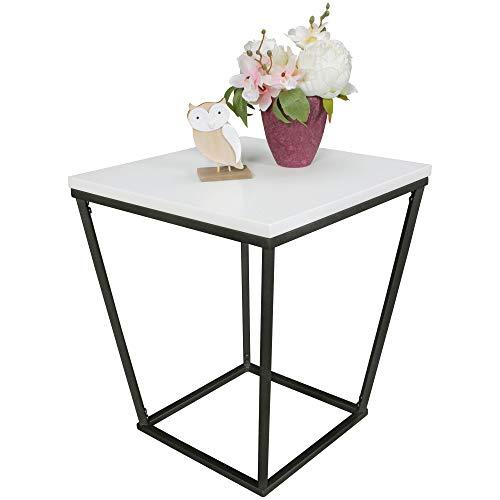 Wohning SKANDI Table d'appoint Design rétro en Bois DF Blanc 60 x 50 x 50 cm Table de Salon en Forme de Losange avec Structure métallique