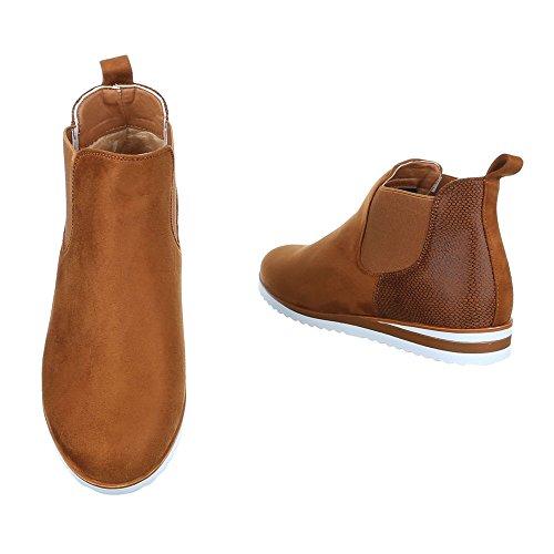 Komfort Stiefeletten Damen Schuhe Schlupfstiefel Keilabsatz/ Wedge Stretch Ital-Design Stiefeletten Camel