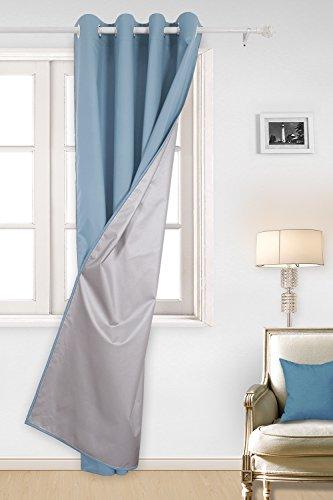 Deconovo tende oscuranti in tessuto oxford con occhielli per soggiorno 140x260cm azzurro un pannello