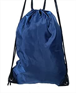 Plain Navy Blue Drawstring Gym Swim Wet Kit Bag Gymsac