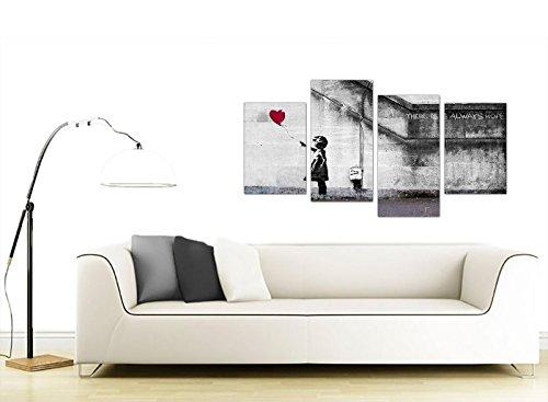comprare on line Wallfillers Quadro su Tela Banksy Extra Large, ragazza con palloncini, 130 cm XL Rosso | Set 4050 prezzo