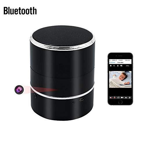 Bluetooth Telecamera Nascosta, UYIKOO HD 1080P WIFI Telecamera Nascosta Altoparlante Bluetooth Senza Fili Mini Telecamera Spia con Rilevamento Del Movimento e Sinistra / Destra Ruota di 180° Supporto APP per Android / IOS Vista Remota