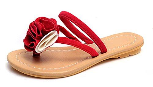 Fräulein Xia Jiqia Zehesandelholze flache Sandalen Slipper Sandalen und Pantoffeln Sandalen School Girls Red
