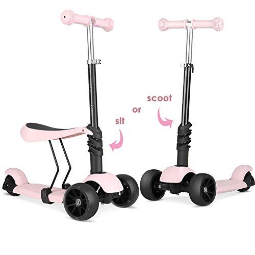 BAMNY Kinderroller Kickboard mit verbreiterten Rollen und abnehmbarem Sitz, Kinderscooter Laufrad 2in1 höhenverstellbarer Lenker und LED Leuchtrollen, Tretroller für Babys/Kinder ab 1-5 Jahren (Rosa)