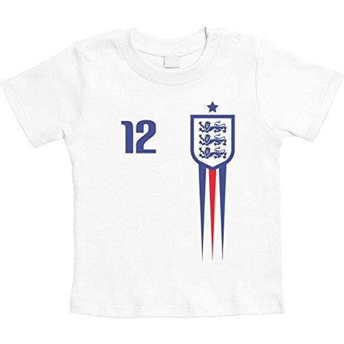 England Fußball Fanartikel für Babys zur WM Unisex Baby T-Shirt 6-12 Monate / 76 Weiß -