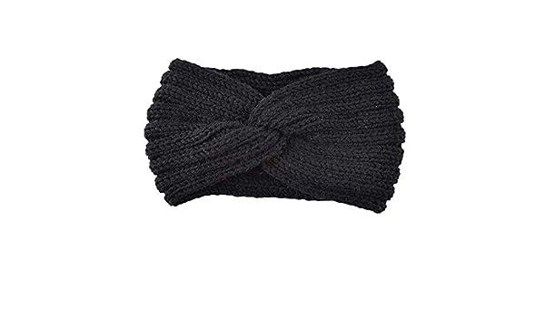 Rameng Bande de Cheveux Laine Tricot/ée N/œud Bandeau Hiver Turban Cheveux Femme Elastique
