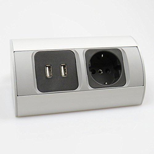 Ecksteckdose USB Aluminium Energiebox Tischsteckdose Powerport Schutzkontakt