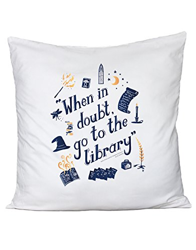 Cuscino HARRY POTTER - when in doubt go to library - in cotone by Fashwork