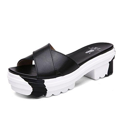 Signora grezzo in estate con sandali e ciabatte/Torta spessa casual pantofole/Sandali in pelle-B Longitud del pie=22.3CM(8.8Inch)