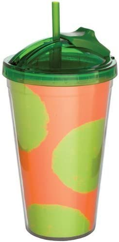 Cool Summer Green and Orange Polkadot Double walled acrylic slide x straw tumbler , 7 H x slide 4 W by Carson Home 5be299