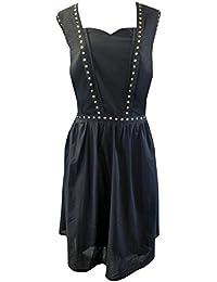 Black Vintage Style Gothic Flared 100% Cotton Gold Stud Skater Dress Sizes 16-26