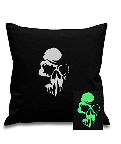 nkopf inspiriert Glow in the Dark–Schwarz Leinwand Kinder Zimmer–Kinderzimmer Kissenbezug, 45x 45cm, quadratisch, verdeckter Reißverschluss (Scary Halloween-t-shirts)