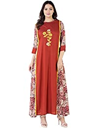 Khushal Rayon Printed Long Lenght Designer Dress With Beautiful Hand Work , Kurta/Kurti For Women's/Girls'/Bride...
