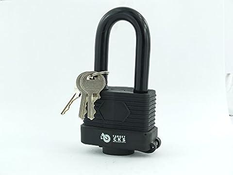 Target 50mm Heavy Duty Waterproof Weatherproof Padlock - Fully Coated - 3 High Security Keys Per Lock (Long Shackle)
