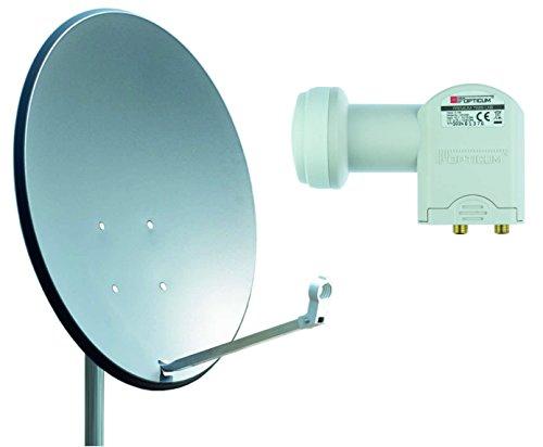 Opticum X80 Satelliten-Antenne (80 cm, Stahl - anthrazit, TÜV zertifiziert, mit Twin LNB LTP-04H)