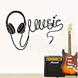 Zyunran Music Headphones Silhouette Wall Stickers Home Decoration Wall Art Decal Living Room Wall Decals Decor Removable 84 * 58Cm