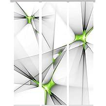 Home fashion 88983–174Franklin Impresión Digital Panel, blickdichter tela decorativa, 3unidades, plástico, color verde, 245x 60x 245cm