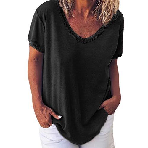 Lazzboy Damen Vneck T-Shirt Kurzarm Solide Bluse Tops Plus Size Leinenblusen Frauen Frühling Sommer Lässige Rundhals Lose Tunika Top Oberteil Hemdbluse Große Größe(Schwarz,3XL)
