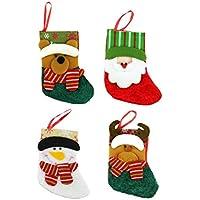 QUICKLYLY 4pcs Mini Calcetines de Navidad de Medias de Pequeñas Bolsa de Regalos y Dulces Calcetines