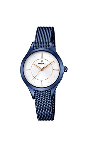 Festina MADEMOISELLE Women's Quartz Watch with Silver Dial Analogue Display and Blue Stainless Steel Plated Bracelet F16961/1