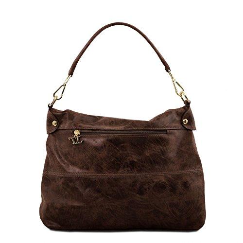 Leder aus Dunkelbraun TL141637 Bag Antikeffekt im Bordeaux Leather TL Tuscany Handtasche Pwx1qIXvR