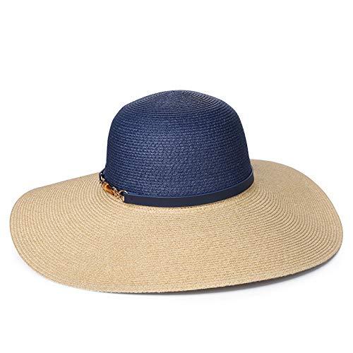 Trendy Fashion Jazz Hut Damen Tag Strand Hut Reise Meer Strohhut Stroh dunkelblau zwischen der Wahren Farbe (Fang Des Tages Kostüm)